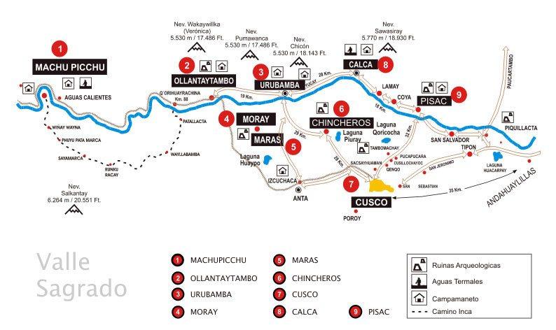 valle sagrado de los incas mapa