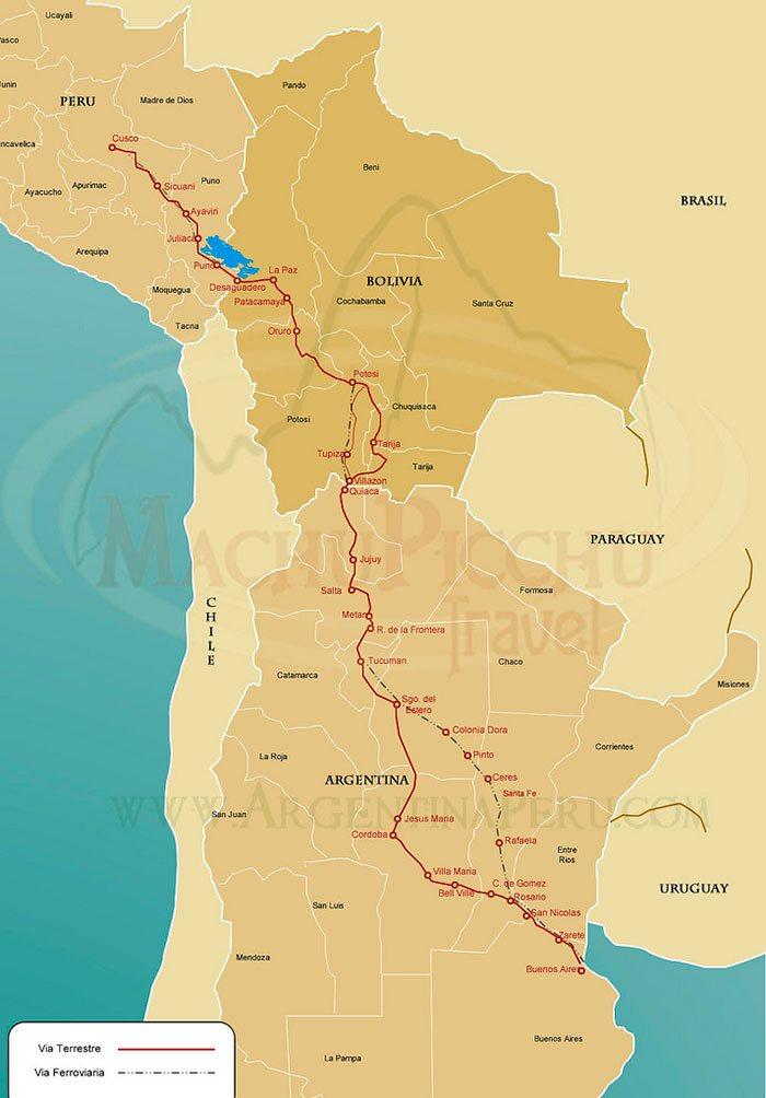 Ruta de Argentina a Cusco